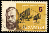 A stamp printed in Australia shows Lawrence Hargrave — Stock Photo