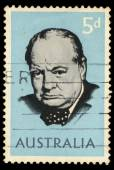 A stamp printed in Australia shows Winston Churchill — Stock Photo