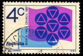 A stamp printed in Australia shows World Y.W.C.A. Council — Stock Photo