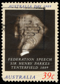 Australia stamp shows Sir Henry Parkes Tenterfield — Stock Photo
