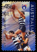 Australia stamp shows the Geelong Cats, Centenary of the AFL series — Stock Photo