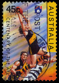 Australia stamp shows Centenary of the AFL series — Stock Photo