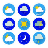 Set of flat color weather icons — Stock Vector