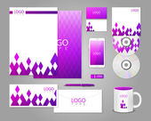 Corporate identity template with purple rhombuses — Stock Vector