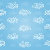 Seamless pattern with hand-drawn clouds — Stock Vector