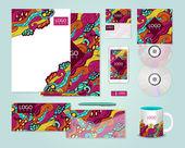 Colorful corporate identity template design — Stock Vector