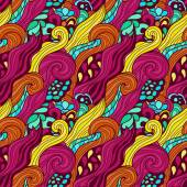 Seamless colorful abstract hand-drawn pattern — Stock Vector