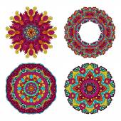 Colorful round floral design elements — Stock Vector