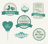 Set of wedding invitation vintage design elements — Stock Vector