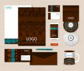 Corporate identity template with ethnic ornaments. — Stock Vector