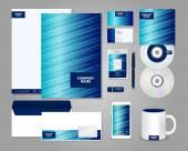 Striped blue corporate identity template — Stock Vector