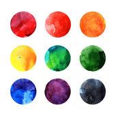 Colorful watercolor vector circles — Stock Vector