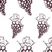 Seamless pattern with hand drawn decorative grapes — Stock Vector