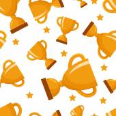 Seamless pattern with golden winners cup — Stock Photo
