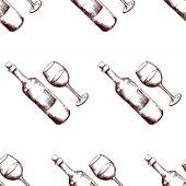 Seamless pattern with hand drawn wine  — Stock Photo