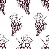 Seamless pattern with hand drawn decorative grapes — Stock Photo