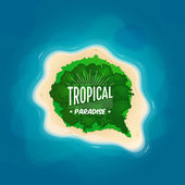 Top view of a tropical island in the ocean — Stock Vector