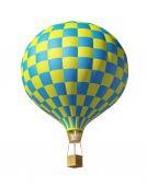 Isolated on white 3d blue-yellow balloon — Stockfoto