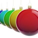 Christmas balls in a row — Stock Photo #69896975