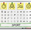 Sport hand drawing line icons. — Stock Vector #70311347