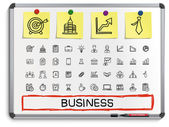 Business hand drawing line icons. — Stock Vector