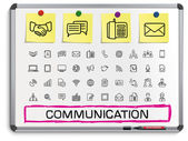 Communication hand drawing line icons. — Stock Vector