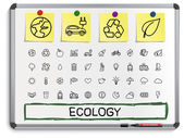 Ecology hand drawing line icons. — Stock Vector