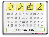 Education hand drawing line icons. — Stock Vector