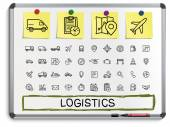 Logistic hand drawing line icons. — Stock Vector