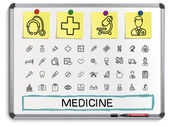 Medical hand drawing line icons. — Stock Vector