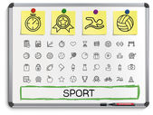 Sport hand drawing line icons. — Stock Vector