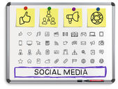 Social media hand drawing icons. — Stock Vector