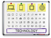 Technology hand drawing line icons — Stock Vector