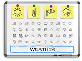 Weather hand drawing line icons. — Stock Vector
