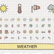 Weather hand drawing line icons. — Stock Vector #79861738