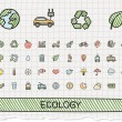 Ecology hand drawing line icons — Stock Vector #79861714