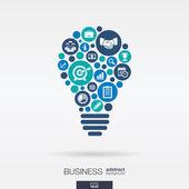 Flat icons in a idea bulb shape — Stock Vector