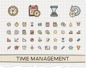 Management hand drawing line icons — Stock Vector