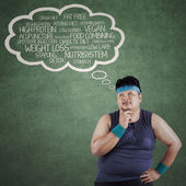 Man thinking the way to lose weight — Stock Photo
