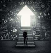 Businessman looking at open door — Stockfoto