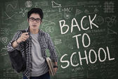 Student gives command for back to school — Stock Photo