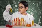 Cute scientist looking at chemical fluid — Stock Photo