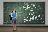 High school student back to school — Stock Photo