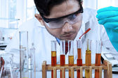 Male chemist pouring chemical fluid — Stock Photo