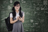 Pretty student using cellphone for texting — Stock Photo