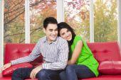 Woman huggin her boyfriend — Stock Photo