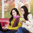 Two women using laptop on sofa — Stock Photo #53786631