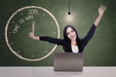 Businesswoman celebrate time to win in 2015 — Stock Photo