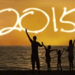 Silhouette of family enjoy new year — Stock Photo #55335807
