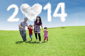 Happy family enjoying new year day — Stock Photo